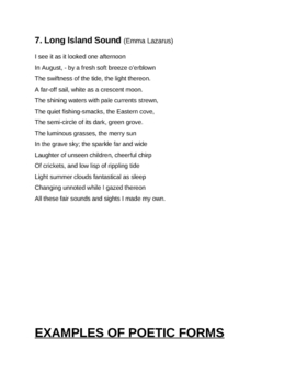 Poetic Devices & Poetic Forms (Student Worksheet)