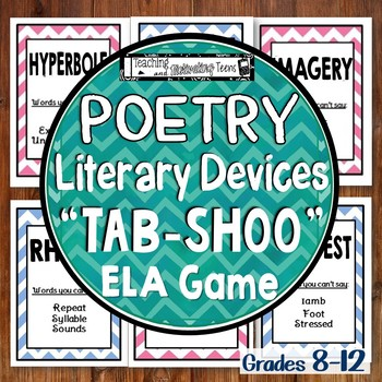 Poetic & Literary Devices Poetry Terms Tab-shoo, Editable & Challenging ELA Game