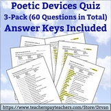 Poetic Devices Quiz (3-Pack with Answer Keys) (Literary Terms)