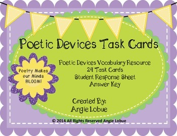 Poetic Devices Task Cards and Poetry Vocabulary Resource