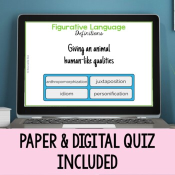 Figurative Language - Poetic Devices Terms & Quiz