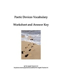 Poetic Devices Vocabulary worksheet and Answer Key