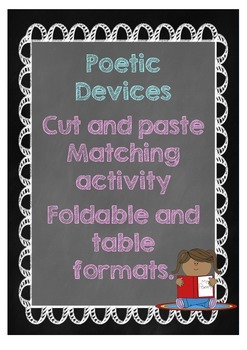 Poetic Devices cut and paste sorting activity.