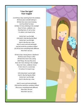 "Poetic Elements Activity Using ""Now I See the Light"" from Disney's Tangled"