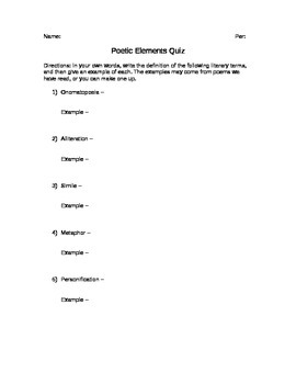 Poetry Literary Elements Quiz