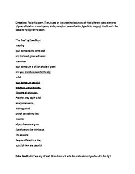 Poetic Elements Quiz