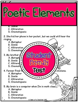 Poetic Elements Test ~ Metaphor, Simile, Alliteration, Onomatopoeia