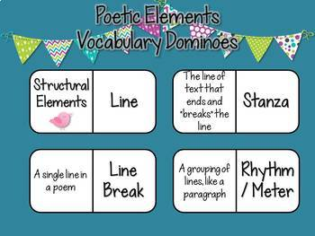 Poetic Elements Vocabulary Dominoes