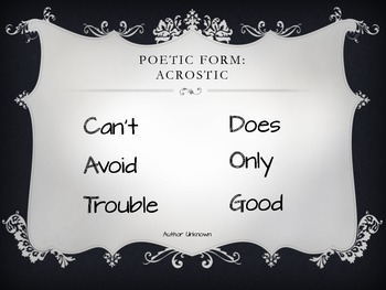 Poetic Forms, Rhyme Schemes, and Purposes PowerPoint