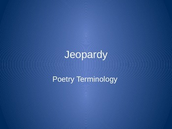 Poetic Jeopardy