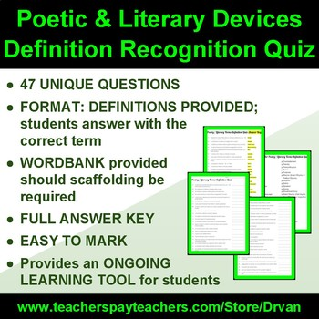 Poetic & Literary Devices Definition Recognition Quiz (47