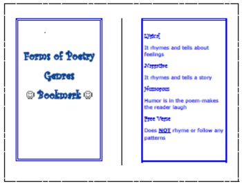 Poetic Literary Genre Bookmark (K-4)