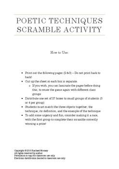 Poetic Techniques Scramble Activity