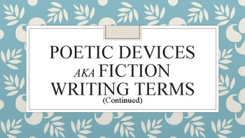 Poetic Terms/Literary Devices PowerPoint