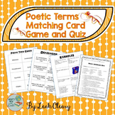 Poetic Terms Matching Card Game and Quiz
