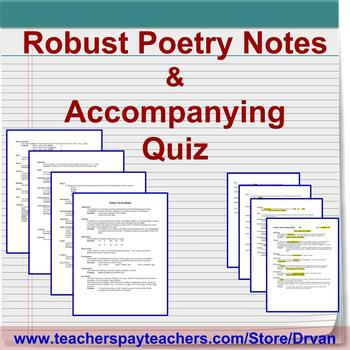 Poetic Terms Notes and Accompanying Quiz with Answer Key