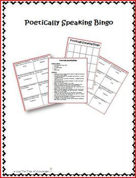 Poetically Speaking Bingo