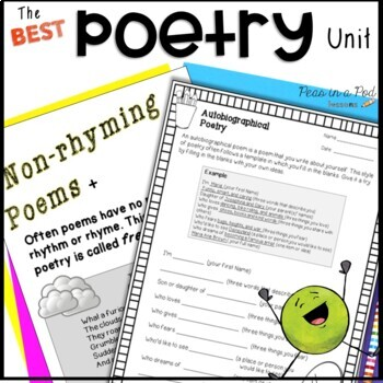 Poetry Lessons & Activities!  Poems include Haiku, Cinquain, Limerick