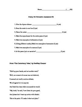Poetry 101 Formative Assessments