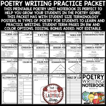 Poetry Writing Activity Flip Book