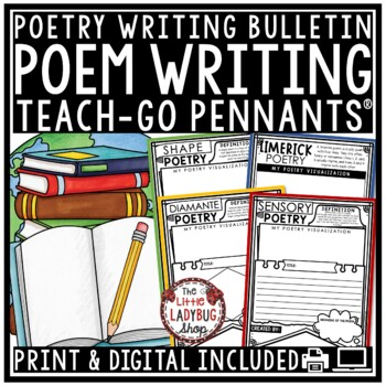 Poetry Writing Templates Activity Teach- Go Pennants Poem Writing Bulletin Board