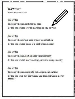 the writer poem