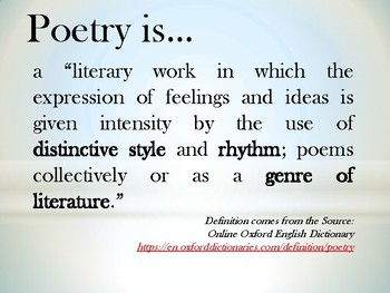 Poetry (power-point user-friendly presentation)