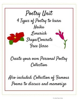 Poetry Unit: Step-by-Step Worksheets to Help Understand and Write 4 Poetry Forms