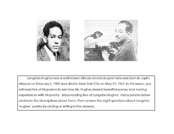BLACK HISTORY: 5 Poems of LANGSTON HUGHES + 9 Analysis Comprehension Questions