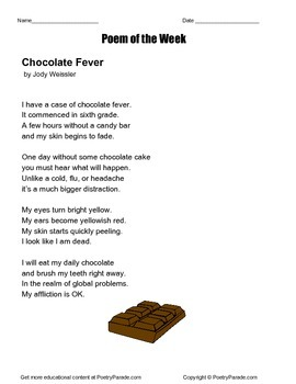 Poetry - A poem of the Week called Chocolate Fever by Jody