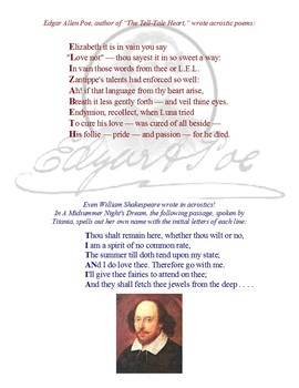 Acrostic Poetry for Middle School (Grades 6, 7, 8)