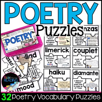 Poetry Activities | 27 Poetry Terms Puzzles