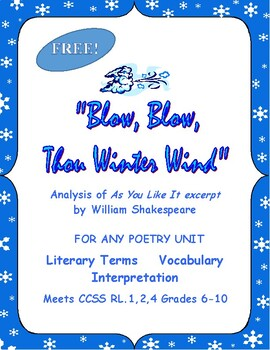 """Shakespeare for Any Poetry Unit or As You Like It """"Blow Wi"""