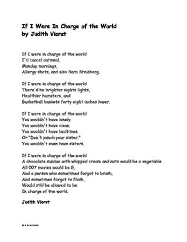 Poetry Activity with Judith Viorst's If I Were In Charge of the World