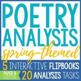 Spring Poetry Reading and Analysis - 5 Interactive Poetry Analysis Flip Books
