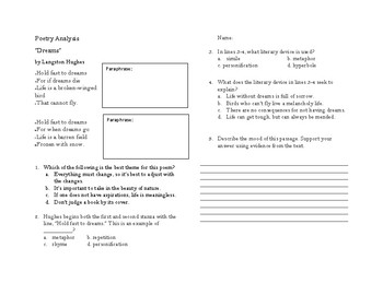 Poetry Analysis Activities and Quiz