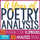 20 Poetry Analysis Interactive Flip Books - Year Long BUNDLE