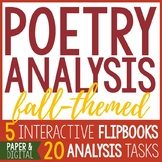 5 Interactive Poetry Analysis Flip Books - Autumn Poems