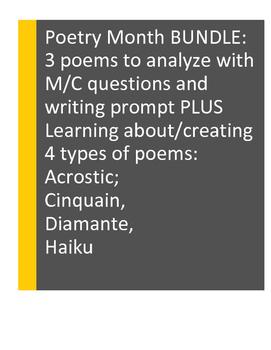 POETRY Analysis+Creation: Acrostic, Cinquain, Diamante, Haiku. 2-Product Bundle