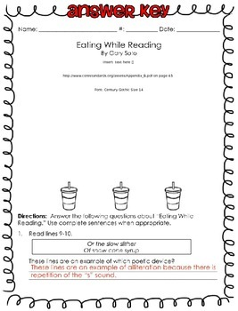 Poetry Analysis {{Eating While Reading}} CCSS exemplar
