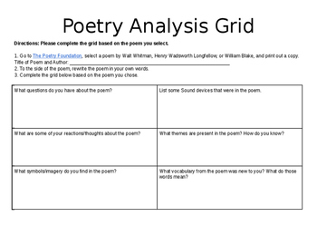 Poetry Analysis Grid