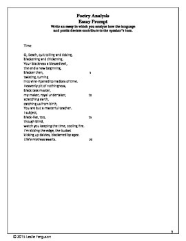 Poetry Analysis Guide and Template with Poem and Explication