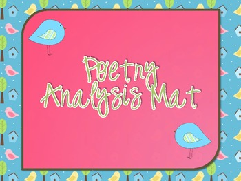 Poetry Analysis Mat for Centers
