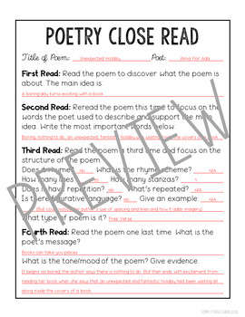 Poetry Analysis Month 1 with Poetry Resource Pages