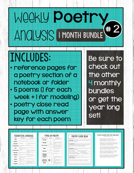 Poetry Analysis Month 2 with Poetry Resource Pages