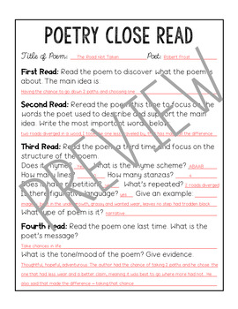Poetry Analysis Month 4 and Poetry Reference Pages