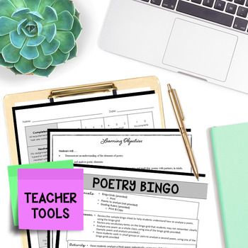 Poetry Analysis - Poetry Reading - Poetry Bingo (4 Squares)