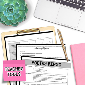 Poetry Analysis - Poetry Reading - Poetry Bingo (3 Squares)