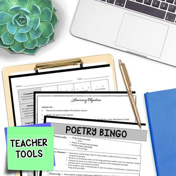 Poetry Analysis - Poetry Reading - Poetry Bingo (5 Squares)