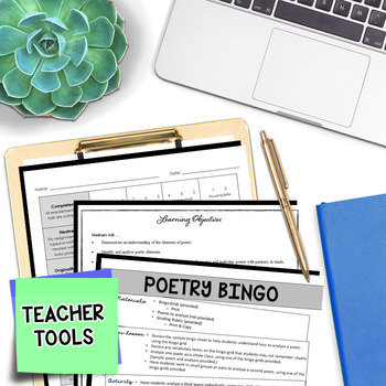 Poetry Analysis - Poetry Reading - Poetry Bingo (BUNDLE)
